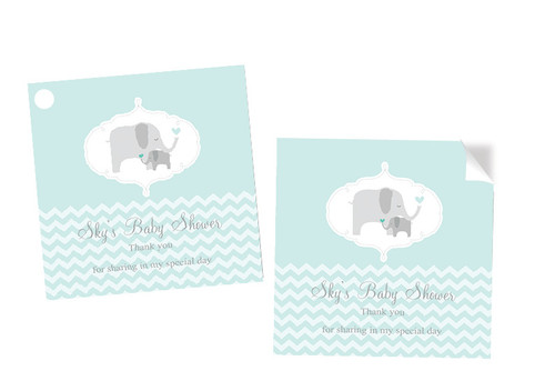 Green Baby Elephant Baby Shower Square Tags and Stickers