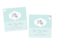 Green Baby Elephant Baby Shower Square Tags Labels and Stickers - Printed in Melbourne Australia
