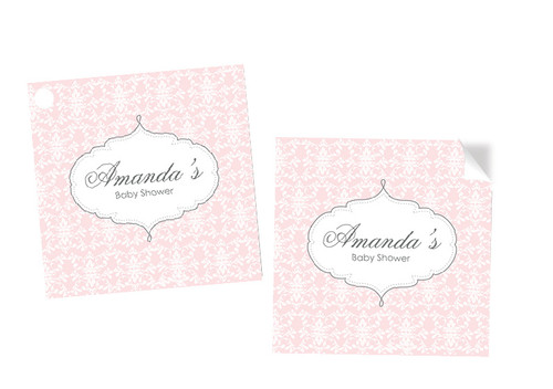 Pink Damask Baby Shower Square Tags and Stickers