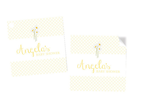 Yellow Daisies Baby Shower Labels Stickers and Tags - Personalised and printed in Melbourne Australia