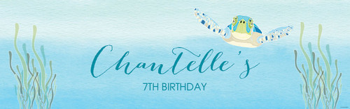 Under the Sea - Sea Turtle Birthday Party Personalised Banner. Order online in Australia