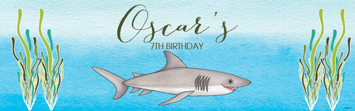Shark Under the Sea Personalised childrens birthday party banner