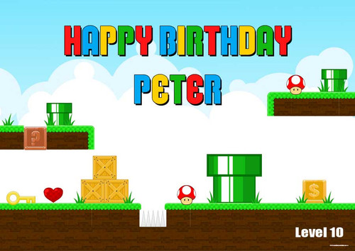 Marios Bros Personalised Kids Birthday Party Banners