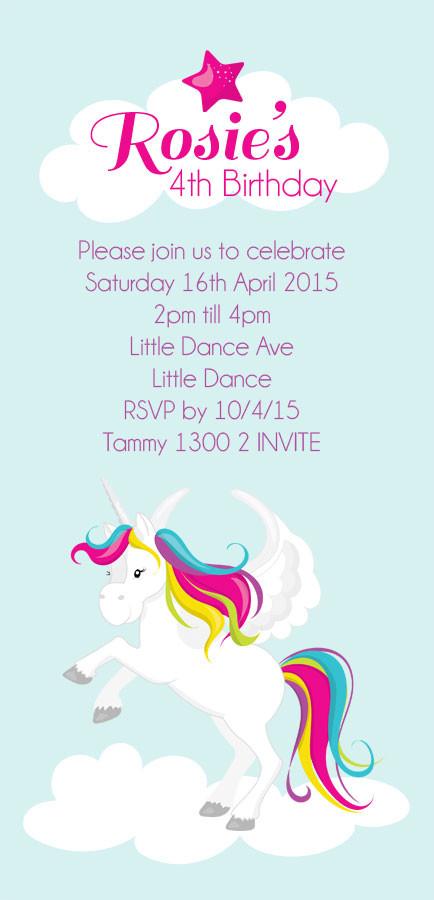 Unicorn Kids Personalised Birthday Party Invitations