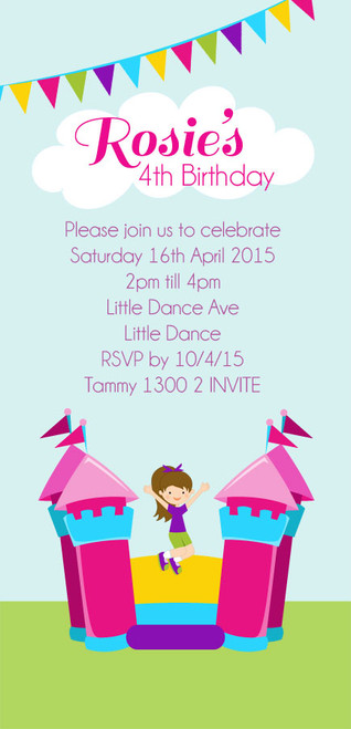 Bouncing Jumping Castle Kids Personalised Birthday Party Invitations