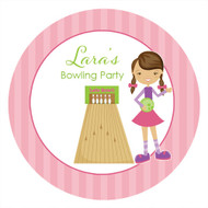 Girls Ten Pin Bowling Party Personalised Birthday Party Labels & Stickers & Stickers
