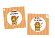 Little Lion Party Personalised Square Stickers & Square Tags