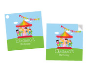 Carnival Carousel Personalised Square Party Stickers and Party Tags