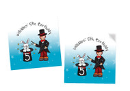 Magician themed personalised party square stickers and tags
