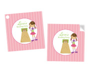 Girls ten pin bowling themed personalised party square stickers and tags
