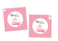 Tea Party Personalised Square Stickers & Square Tags