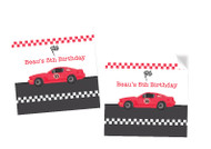 Racing Car Party Personalised Square Stickers & Square Tags