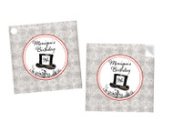 Mad Hatters Tea Party Personalised Square Stickers & Square Tags