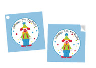 Clown Around Party Personalised Square Stickers & Square Tags