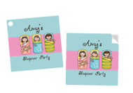 Sleepover Party Personalised Square Stickers & Square Tags