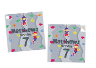 Boys Rock climbing Party Personalised Square Stickers & Square Tags