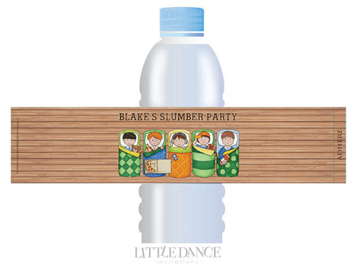 Boys Only Sleepover Slumber Party Personalised Water Bottle favour labels