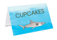 Under the Sea Shark Themed Birthday Party personalised lolly jar cards and dessert table buffet cards