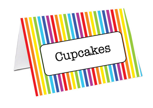 Rainbow Stripe Party Personalised Place Cards, Name Cards, Buffet & Lolly jar cards
