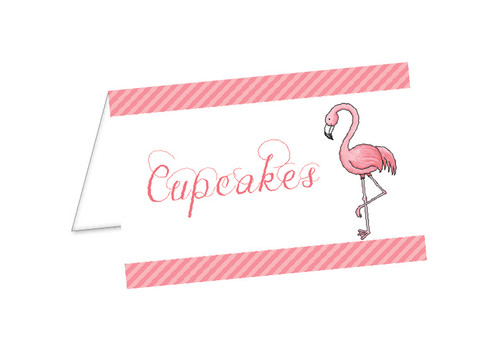 Pink Flamingo Party Personalised Place Cards, Name Cards, Buffet & Lolly jar cards