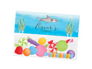 Under the Sea Shark themed personalised birthday party lolly bag, loot bag and party favour bags.