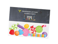 Chemistry Science party themed personalised birthday party lolly bag, loot bag and party favour bags.