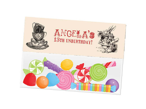 Mad Hatters Tea party themed personalised birthday party lolly bag, loot bag and party favour bags.