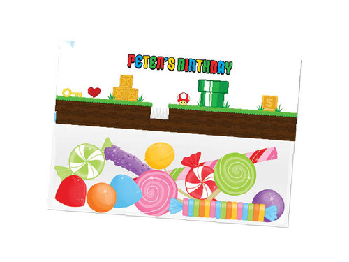 Marios Bros party themed personalised birthday party lolly bag, loot bag and party favour bags.