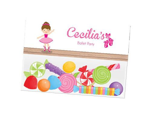 Ballet party themed personalised birthday party lolly bag, loot bag and party favour bags.