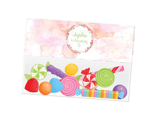 Floral Watercolour party themed personalised birthday party lolly bag, loot bag and party favour bags.