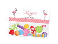 Pink Flamingo party themed personalised birthday party lolly bag, loot bag and party favour bags.