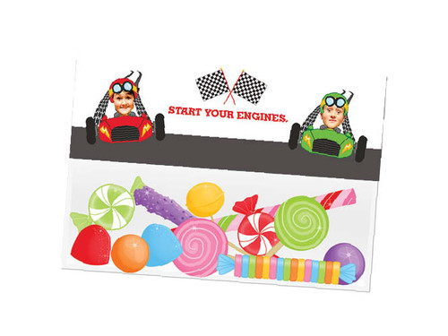 Go Karting party themed personalised birthday party lolly bag, loot bag and party favour bags.