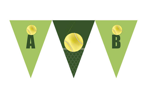 Tennis Birthday party personalised bunting flag decorations.