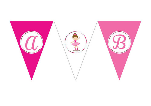Ballet Birthday party personalised bunting flag decorations.