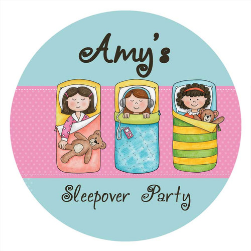 Girls Sleepover Slumber Birthday Party personalised stickers and labels