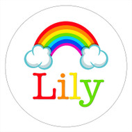 Rainbow Birthday Party Personalised Party Labels & Stickers and stickers