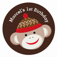 Sock Monkey Birthday Party Personalised Party Labels & Stickers and stickers