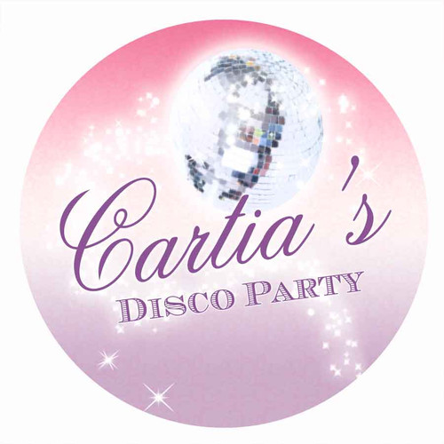 Girls Disco Birthday Party Personalised Party Labels & Stickers and stickers