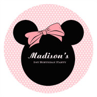 Minnie Mouse Personalised Party Labels & Stickers and stickers