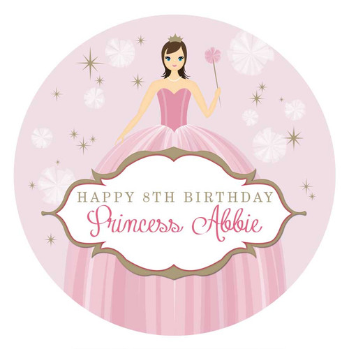 Princess Party Personalised Party Labels & Stickers & Stickers