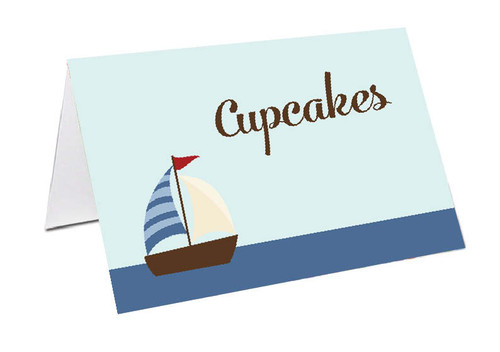 Nautical Sailboat Personalised Place Cards, Name cards & Buffet cards.
