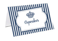 Royal Navy Stripe Personalised Place Cards, Name cards & Buffet cards.