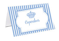 Royal Light Blue Stripe Personalised Place Cards, Name cards & Buffet cards.