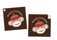 Sock Monkey Party Personalised Square Labels, Square Stickers and Square Tags.