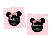 Minnie Mouse Party Personalised Square Labels, Square Stickers and Square Tags.