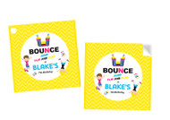 Bounce Jump Party Personalised Square Labels, Square Stickers and Square Tags.