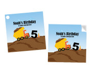 Construction Building Party Personalised Square Labels, Square Stickers and Square Tags.
