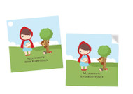 Little Red Riding Hood Party Personalised Square Labels, Square Stickers and Square Tags.