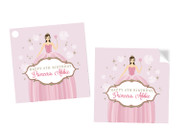 Princess Party Personalised Square Labels, Square Stickers and Square Tags.