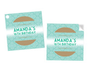 Event Ticket Party Personalised Square Labels, Square Stickers and Square Tags.